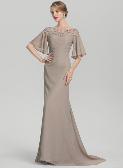 Trompet/Havfrue Off-shoulder Sweep/Brush train Chiffon Kjole til Brudens Mor med Flæsekanter Blonder