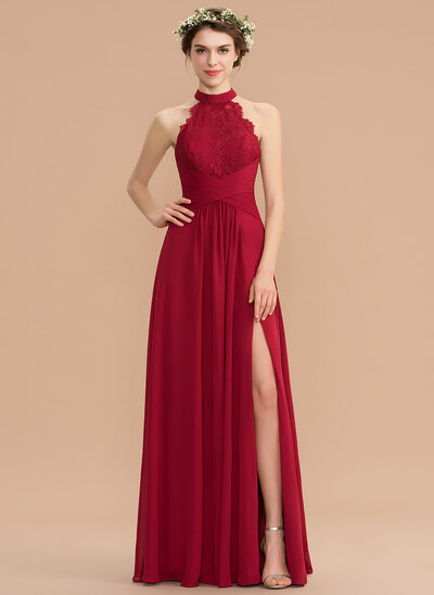 d76b3b3b18f A-Line High Neck Floor-Length Chiffon Lace Bridesmaid Dress With Ruffle  Split Front