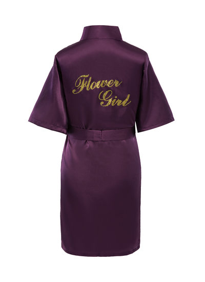 Personalized Charmeuse Flower Girl Glitter Print Robes