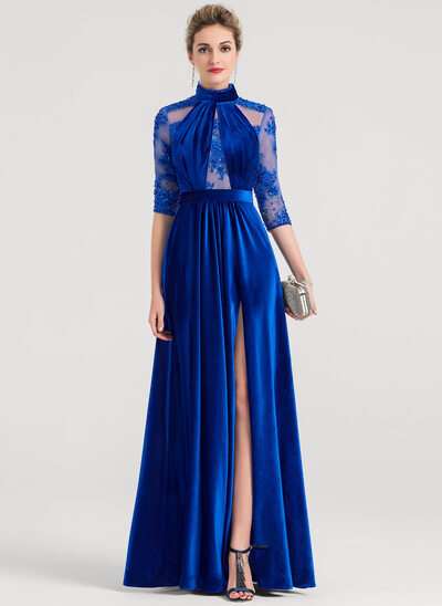A-Line/Princess High Neck Floor-Length Velvet Evening Dress With Beading Sequins Split Front