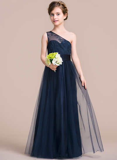 A-Line/Princess One-Shoulder Floor-Length Tulle Junior Bridesmaid Dress With Ruffle