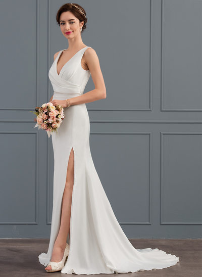 Trumpet/Mermaid V-neck Court Train Satin Wedding Dress With Ruffle Split Front