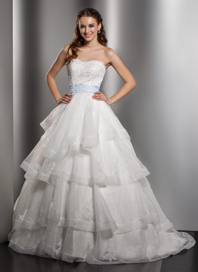 Ball-Gown Sweetheart Chapel Train Organza Wedding Dress With Lace Sash Bow(s) Cascading Ruffles