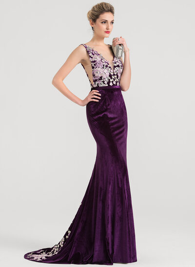 Trumpet/Mermaid V-neck Sweep Train Velvet Prom Dresses