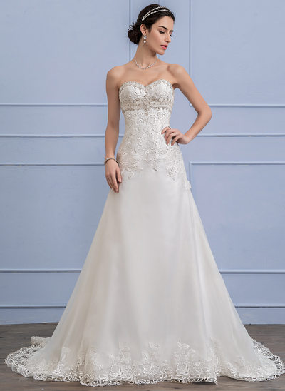 A-Line/Princess Sweetheart Chapel Train Organza Lace Wedding Dress With Beading