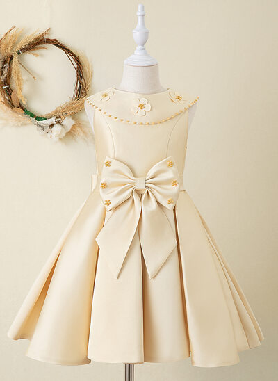 A-Line Knee-length Flower Girl Dress - Satin Sleeveless Peter Pan Collar With Beading/Bow(s)