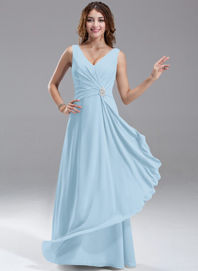 A-Line/Princess V-neck Floor-Length Chiffon Bridesmaid Dress With Beading Cascading Ruffles
