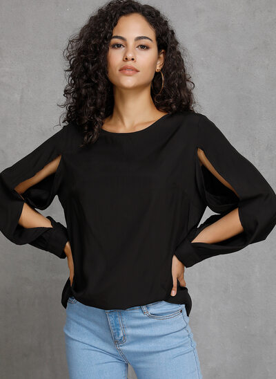 Solid Long Sleeves Polyester Round Neck Blouses