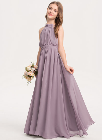 A-Line High Neck Floor-Length Chiffon Junior Bridesmaid Dress With Bow(s) Cascading Ruffles