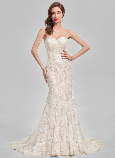 Trumpet/Mermaid Sweetheart Sweep Train Lace Evening Dress