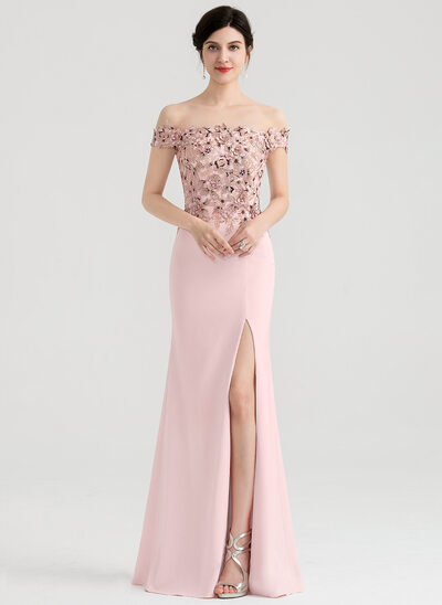 Sheath/Column Off-the-Shoulder Floor-Length Satin Evening Dress With Split Front