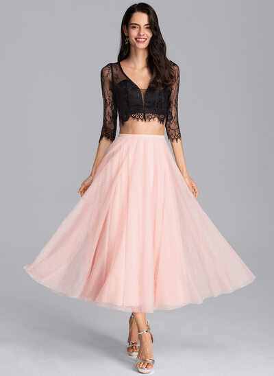 A-Line Tea-Length Tulle Cocktail Dress