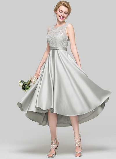 Forme Princesse Col rond Asymétrique Satiné Robe de cocktail