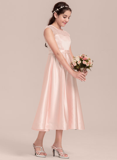 A-Line/Princess Scoop Neck Tea-Length Satin Junior Bridesmaid Dress