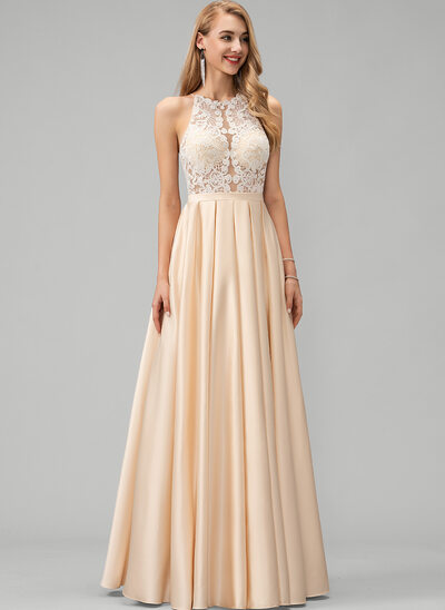 A-Line Scoop Neck Floor-Length Satin Prom Dresses With Lace Pockets