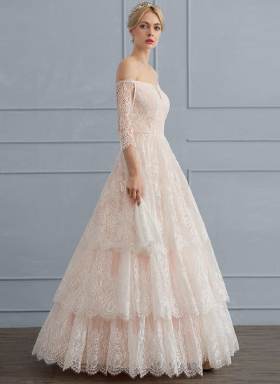 Ball-Gown Off-the-Shoulder Floor-Length Lace Wedding Dress