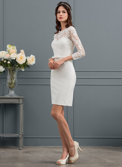 Sheath/Column Scoop Neck Knee-Length Satin Wedding Dress With Sequins Bow(s)