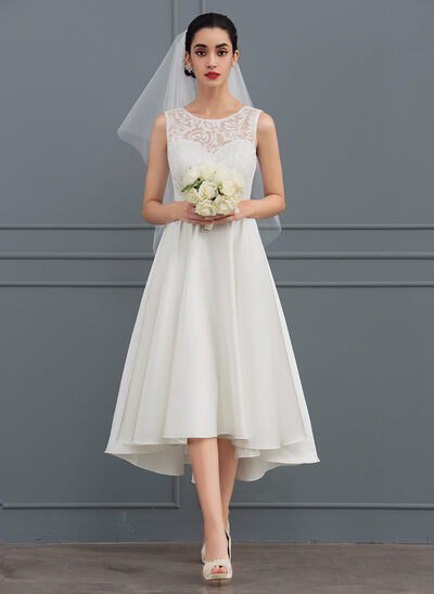 A-Line/Princess Scoop Neck Asymmetrical Satin Lace Wedding Dress