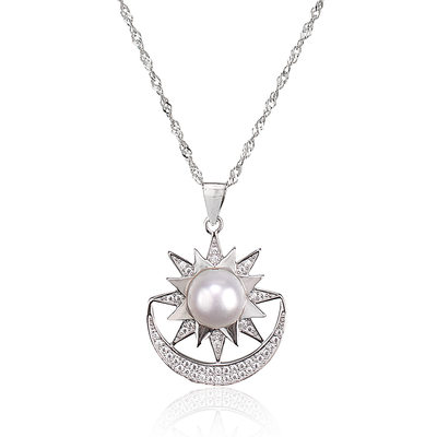 Sterling Silver Moon Flower Pearl Necklace