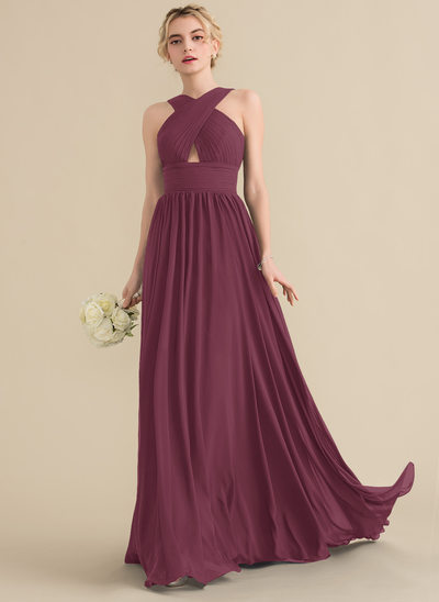A-Line/Princess V-neck Sweep Train Chiffon Bridesmaid Dress With Ruffle