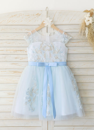 Áčkové Šaty Po kolena Flower Girl Dress - Satén/Tyl/Krajka Bez rukávů Scoop Neck S Luk