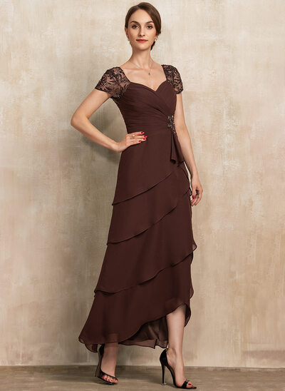 A-Line Sweetheart Asymmetrical Chiffon Lace Mother of the Bride Dress With Beading Cascading Ruffles