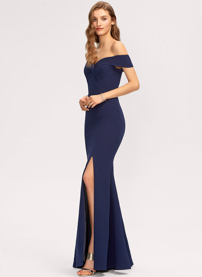 Trumpet/Mermaid Off-the-Shoulder Floor-Length Stretch Crepe Prom Dresses With Split Front