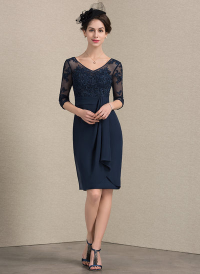 Sheath/Column V-neck Knee-Length Chiffon Lace Cocktail Dress With Beading Cascading Ruffles