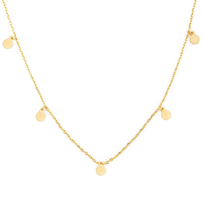 18k Gold Plated Silver Circle Charm Necklace
