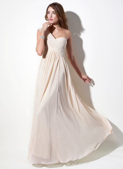 A-Line/Princess One-Shoulder Floor-Length Chiffon Prom Dress With Ruffle Lace Beading