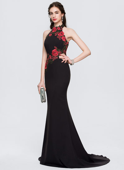 Trumpet/Mermaid Halter Sweep Train Stretch Crepe Evening Dress With Appliques Lace