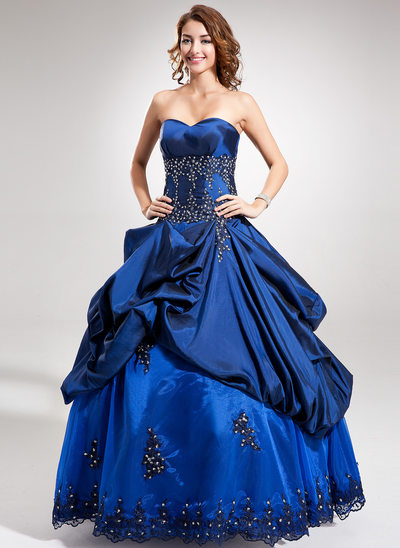 Ball-Gown Sweetheart Floor-Length Taffeta Prom Dress With Beading Appliques Lace Sequins