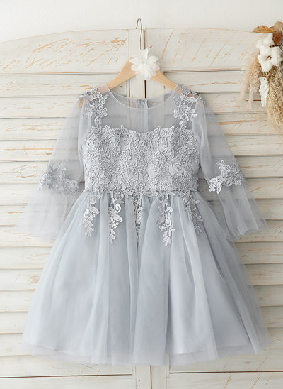 c5bc8b1659e A-Line Knee-length Flower Girl Dress - Tulle Lace 3 4
