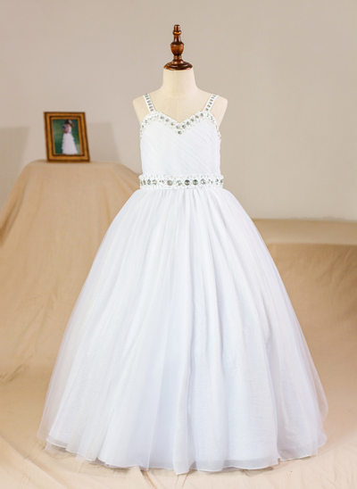 Ball Gown Floor-length Flower Girl Dress - Tulle Sleeveless Straps With Beading (Petticoat NOT included)