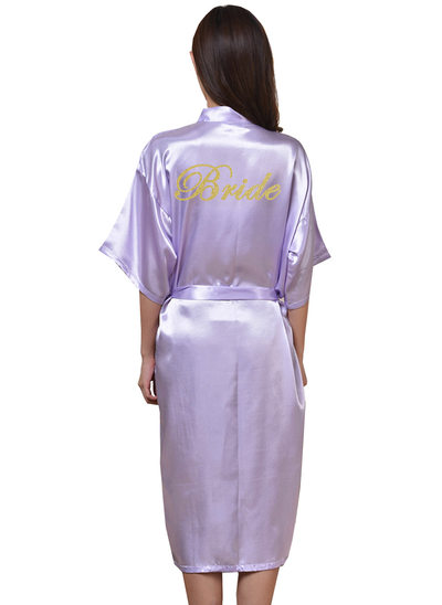 Personalized Bride Bridesmaid Polyester With Tea-Length Personalized Robes