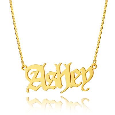 Custom 18k Gold Plated Silver Old English Name Necklace -