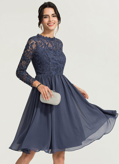 A-Linie/Princess-Linie High Neck Knielang Chiffon Cocktailkleid