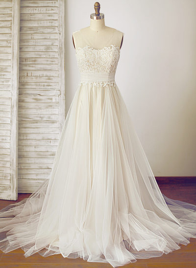 A-Line/Princess Scoop Neck Sweep Train Tulle Wedding Dress With Ruffle Bow(s)
