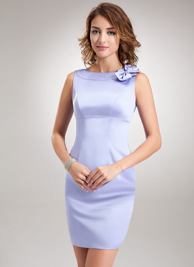 Sheath/Column Scoop Neck Short/Mini Satin Bridesmaid Dress With Bow(s)