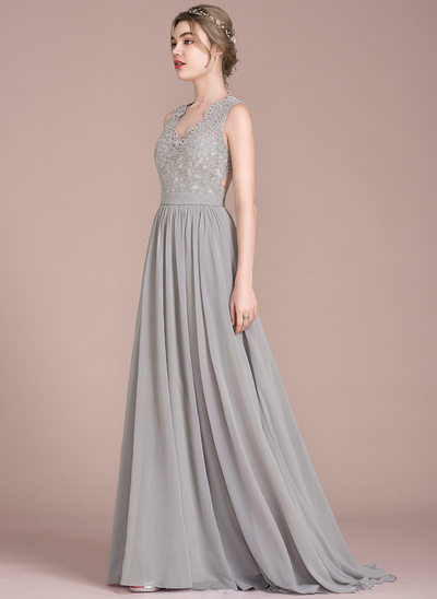 A-Line/Princess V-neck Sweep Train Chiffon Lace Prom Dress