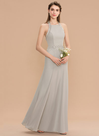 Trumpet/Mermaid Halter Floor-Length Chiffon Bridesmaid Dress With Lace
