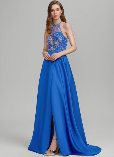 A-Line Scoop Neck Sweep Train Satin Prom Dresses With Beading Sequins Split Front