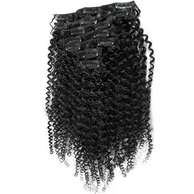 4A Non remy Kinky Curly les cheveux humains Pince pour extensions capillaires 7PCS 70g