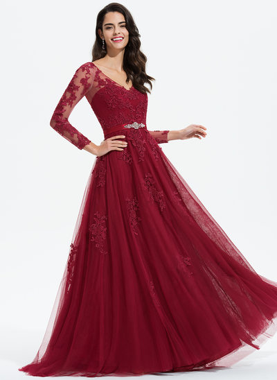 A-Line V-neck Sweep Train Tulle Evening Dress With Beading Appliques Lace