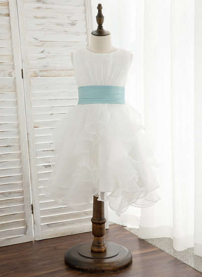 A-Line Knee-length Flower Girl Dress - Organza/Satin Sleeveless Scoop Neck With Sash/Bow(s)