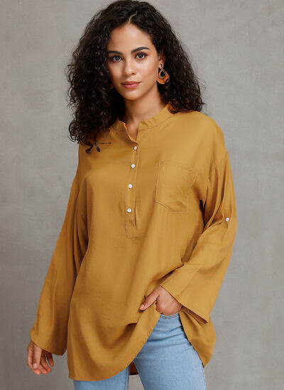 Solid Long Sleeves Polyester V Neck Blouses