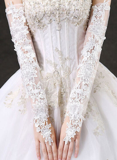 Lace Opera Length Bridal Gloves With Embroidery