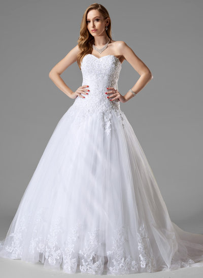 Ball-Gown Sweetheart Court Train Tulle Wedding Dress With Lace Beading