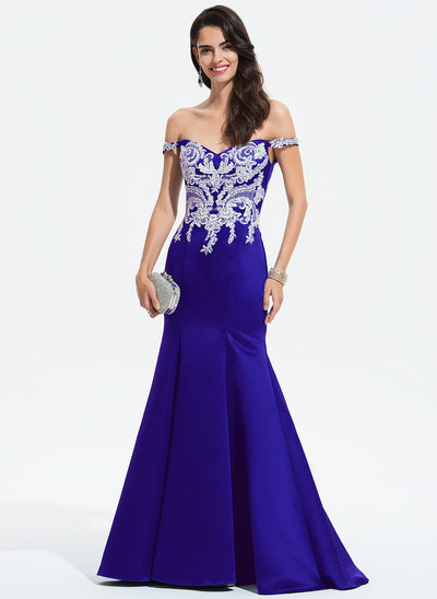 Trumpet/Mermaid Off-the-Shoulder Sweep Train Satin Evening Dress With Lace Beading