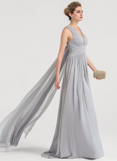 A-Line/Princess V-neck Sweep Train Chiffon Evening Dress With Beading Sequins